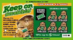 An instant game ticket with a groundhog theme