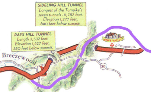 Map of the abandoned Turnpike near Breezewood