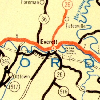 Clear Ridge Tunnel as indicated on the 1939 Department of Highways map