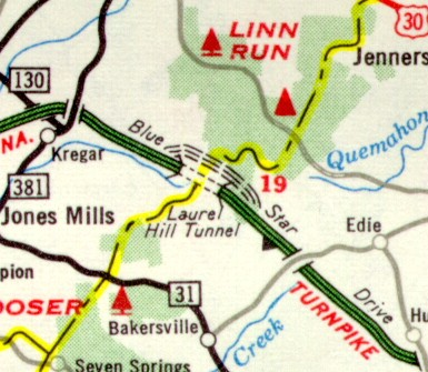 Laurel Hill Bypass indicated as under construction on the 1964 official state map
