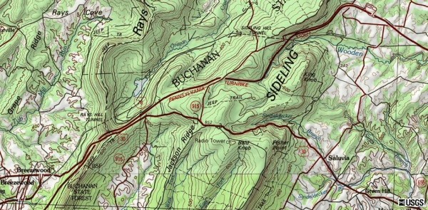 Location of the Rays Hill Tunnel, Sideling Hill Tunnel, and abandoned Turnpike