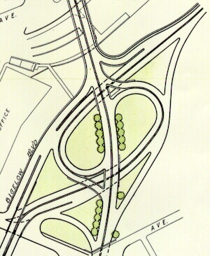 Drawing of the proposed interchange between the Crosstown Boulevard and Bigelow Boulevard