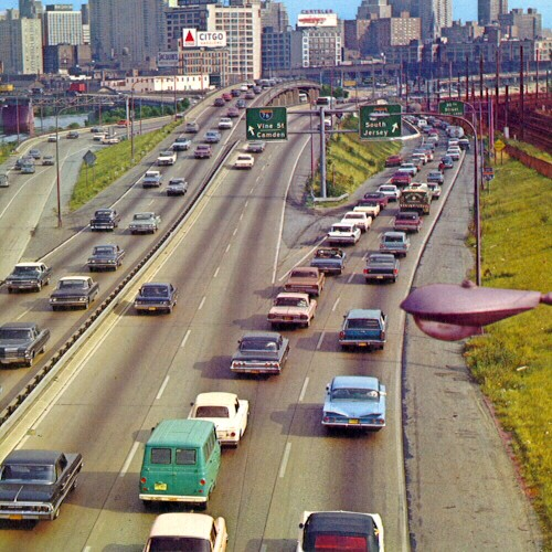 Vine Street Expressway interchange in the early 1970s