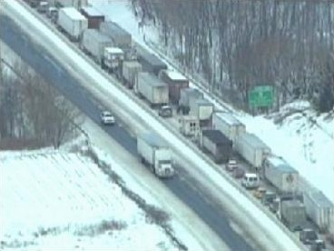 Aerial view of the back-up near PA 100