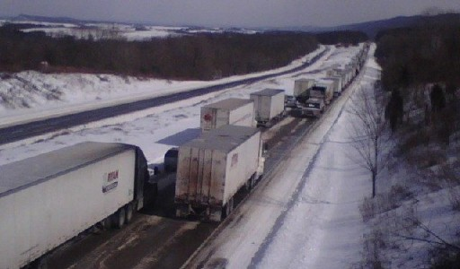 Eastbound traffic at a stand-still in Luzerne and Columbia Counties