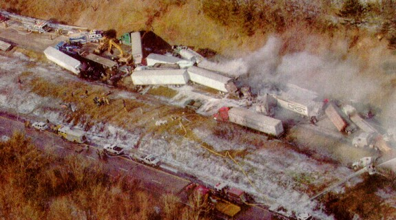 Scene of the pileup on I-80