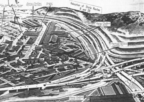 Drawing of proposed PA 28/PA 8 interchange