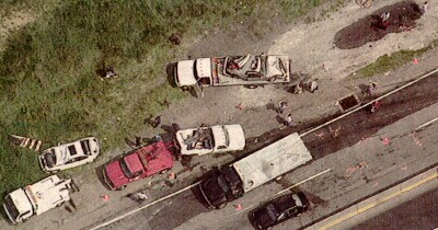 Aerial view of the accident scene