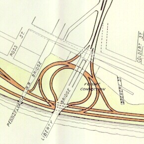 Drawing of the proposed interchange between the Pitt Parkway and Crosstown Boulevard