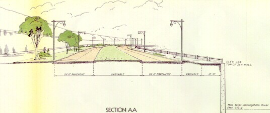 Cross section of what the Pitt Parkway would have looked like