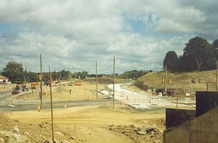 View of the interchange from the bridge in Fall 2002