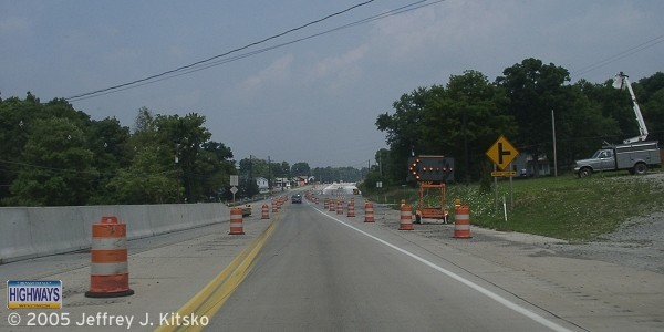 End of the four-lane section at Snyder Lane