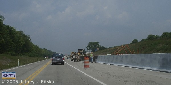 Installing the Jersey barrier north of Black Lick