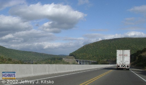 Northbound approaching the Mill Creek bridge with construction of the southbound