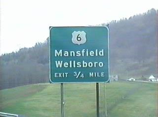 US 6 signage on US 15 south