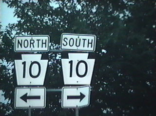 PA 10 shields at the end of the off ramp from southbound US 1