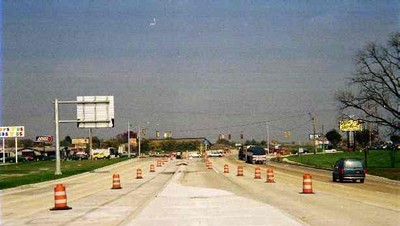Median work going on near Kenneth Road