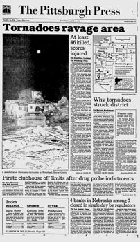 Front page of the June 1, 1985 edition of the Pittsburgh Press