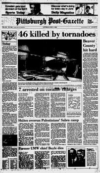 Front page of the June 1, 1985 edition of the Pittsburgh Post-Gazette