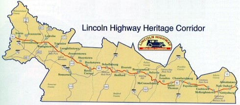Extent of the Lincoln Highway Heritage Corridor