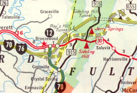 Rays Hill-Sideling Hill Bypass as indicated on the 1968 official state map