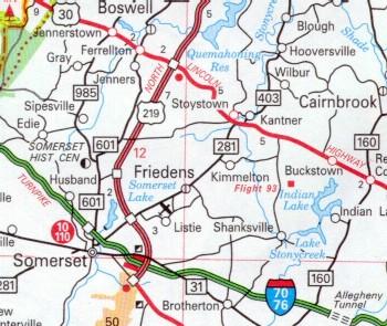 Location of Shanksville