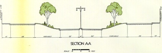 Cross section of what the Crosstown Boulevard would have looked like