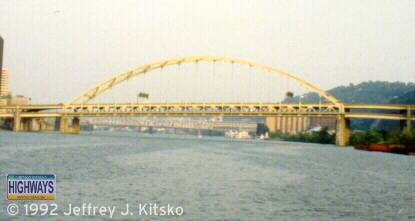 View of the Fort Pitt Bridge from the Monongahela River