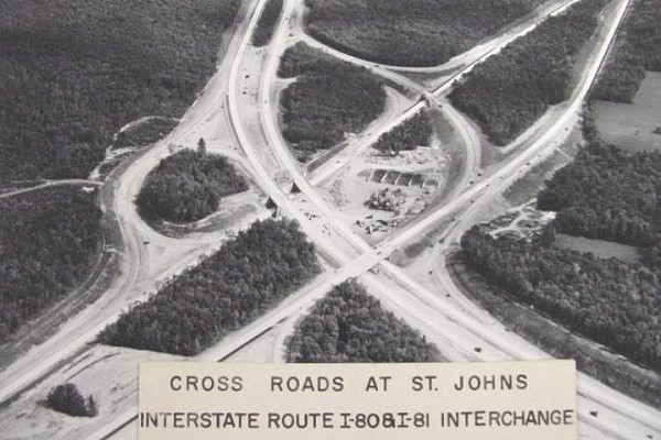 The I-81 interchange with I-80 in the 1960s