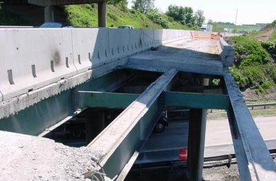 Demolition of the northbound bridge at I-83
