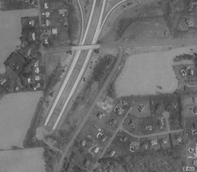 Close-up aerial view of the interchange
