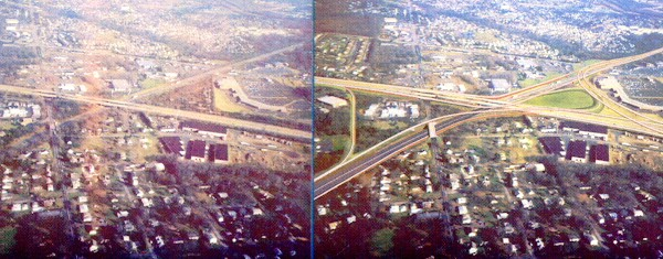 Current I-276/I-95 crossing at the left and conceptual drawing of the future I-276/I-95 interchange