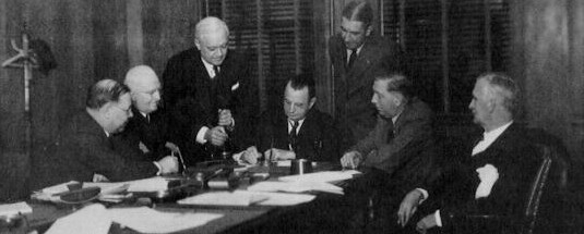 Commission officials meet on October 10, 1938