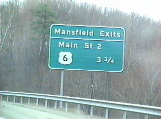 Exit signage on US 15 for the Mansfield Bypass
