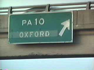 Text only sign on the PA 10 overpass