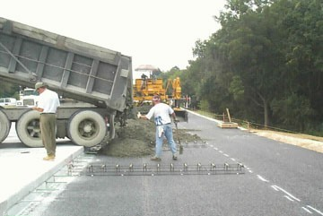 Pouring the concrete for the new highway