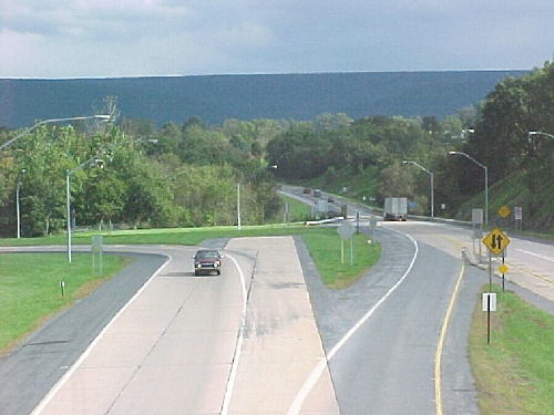 End of the expressway at PA 477 with a stub indicating a future extension to I-80