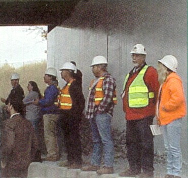 Construction crew at the opening ceremony