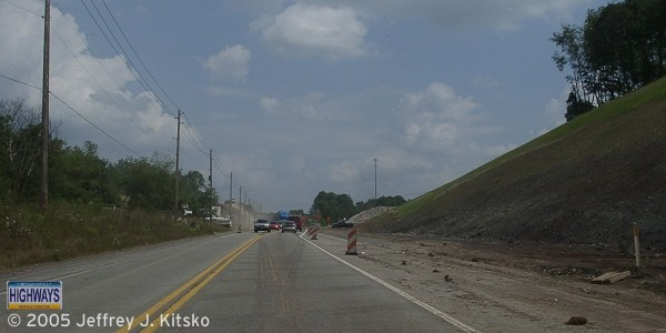 Grading for the future eastbound lanes taking place east of the Cozy Inn Cut-off