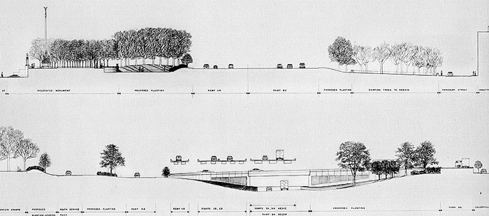 Cross-sections of the layout of the Vine Street Expressway