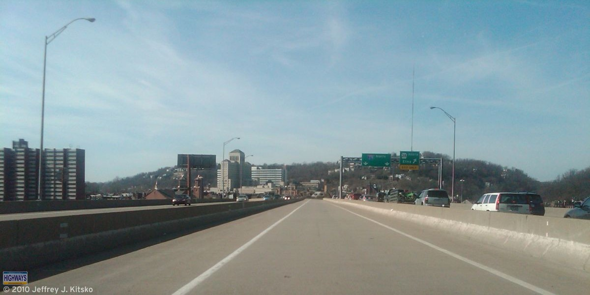 Crossing the Veterans Bridge and approaching the Interstate 279 and PA 28 interchange.