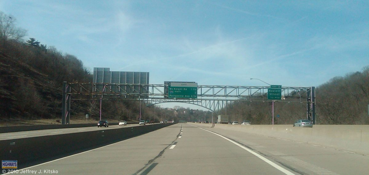 Passing through the East Street Valley of Pittsburgh.