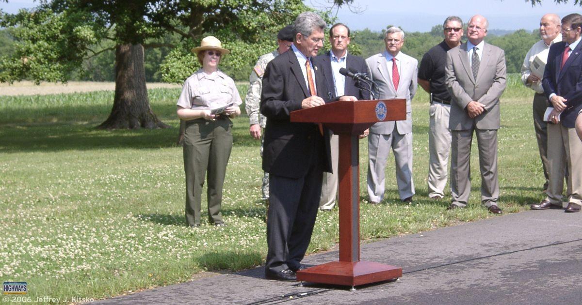 PennDOT Secretary Allen Biehler takes the podium at the Interstate 50th ceremony in Gettysburg.