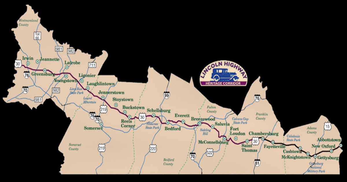 Map of the Lincoln Highway Heritage Corridor (LHHC) of which I would be on the board of directors.