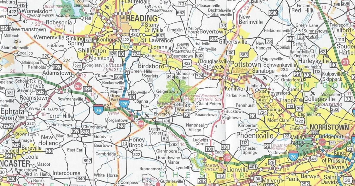 PA 82 shown truncated on the 2009 official road map.