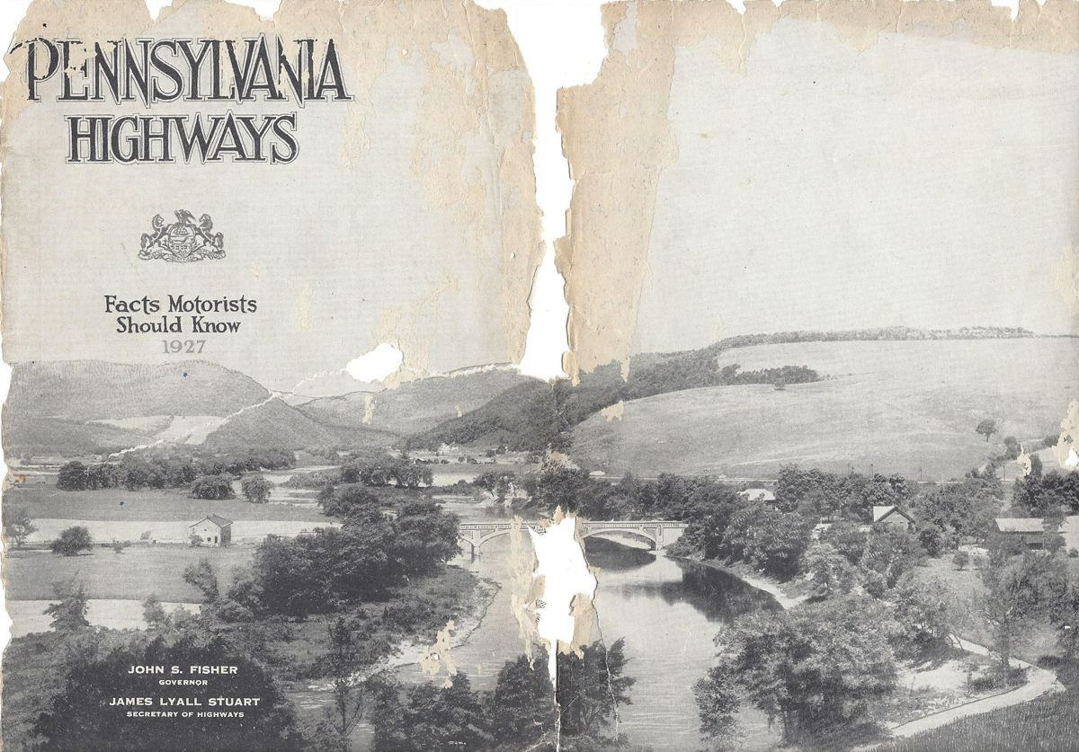 Cover of the booklet entitled Pennsylvania Highways from 1927.