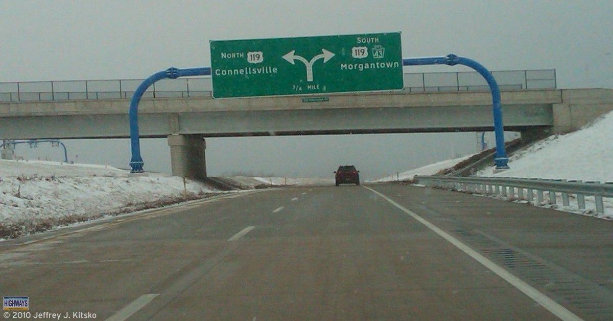 Diagramatical guide sign for the flyover interchange between PA Turnpike 43 and US 119