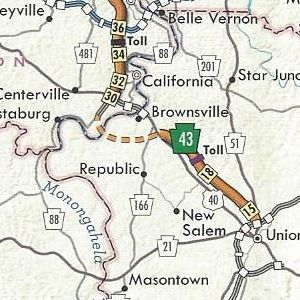PA Turnpike 43 completed from Exit 15 to Exit 22 and under construction from there to PA 88 on the 2011 official turnpike map