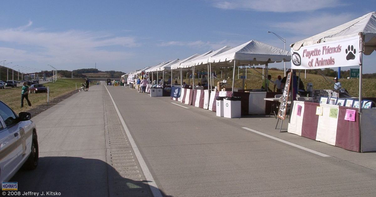 Vendors of all kinds line the northbound lanes of PA Turnpike 43 for Community Day on the Expressway.