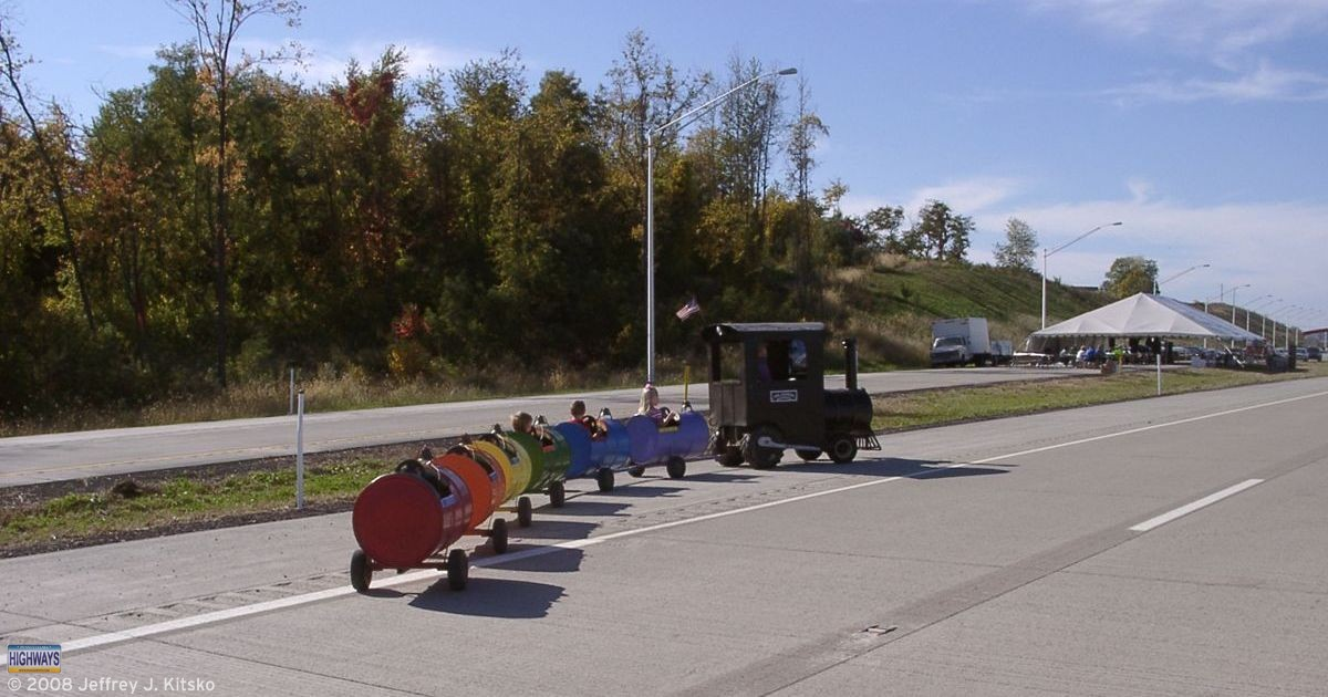 The Rainbow Express trackless train was one of several activities for children during Community Day on the Expressway.